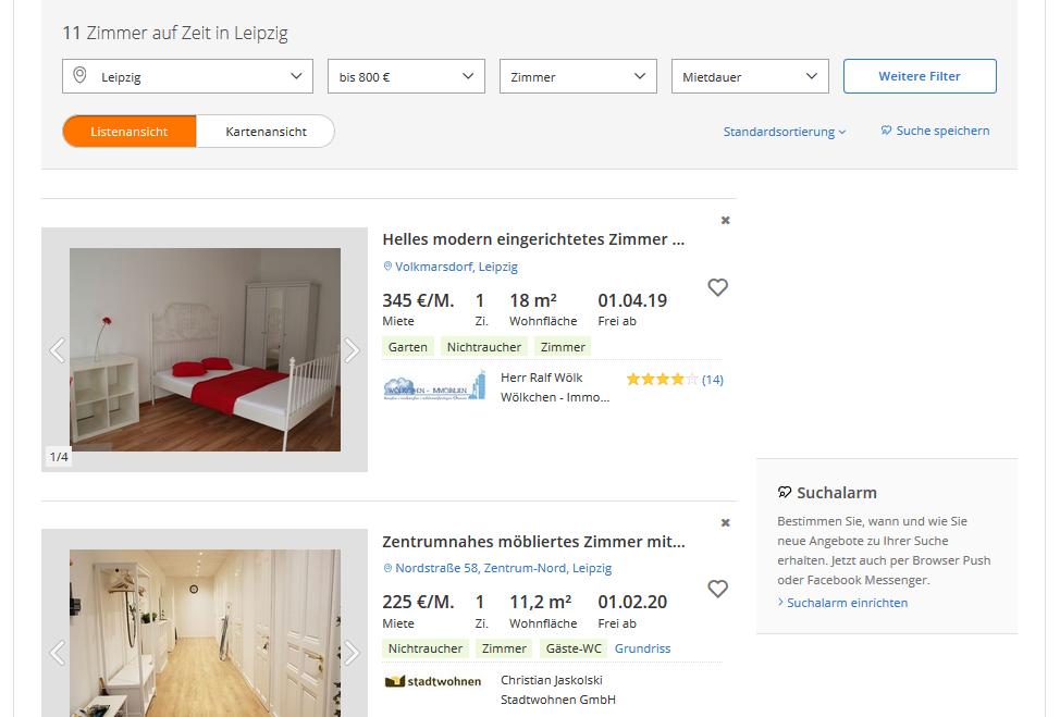 Поиск жилья в Германии - пример навигации по сайту Immobilienscout